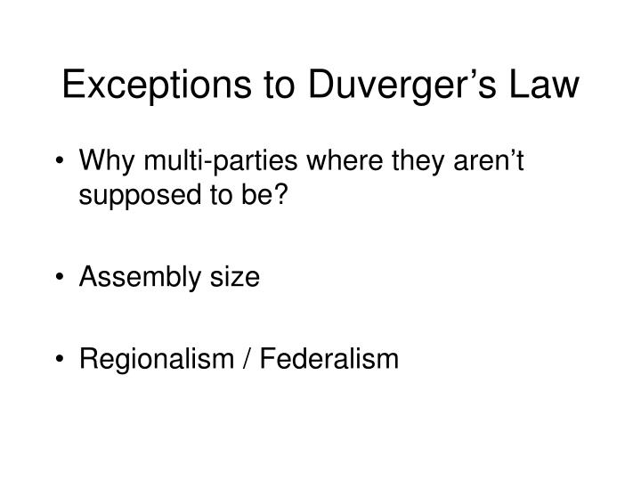 Exceptions to Duverger's Law