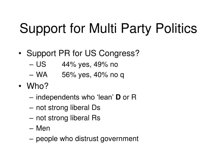 Support for Multi Party Politics