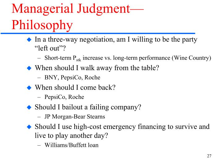 Managerial Judgment—