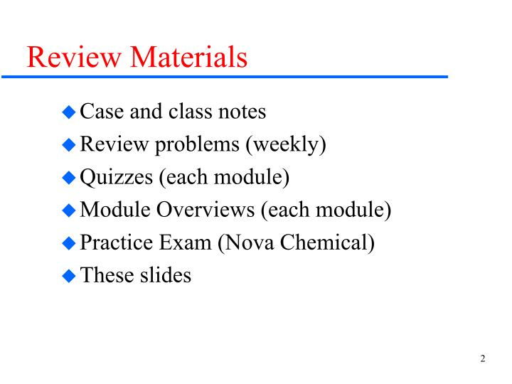 Review materials