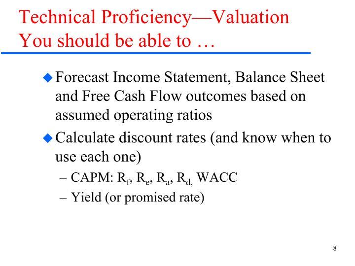 Technical Proficiency—Valuation