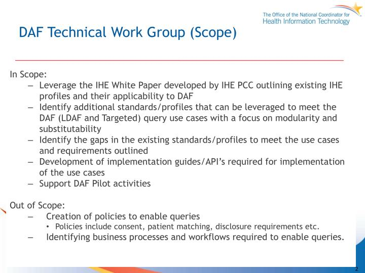 Daf technical work group scope