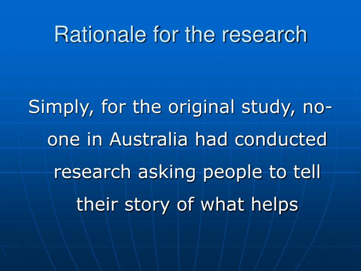 Rationale for the research