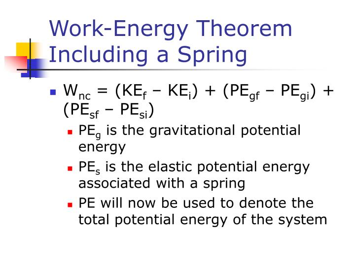 Work-Energy Theorem Including a Spring