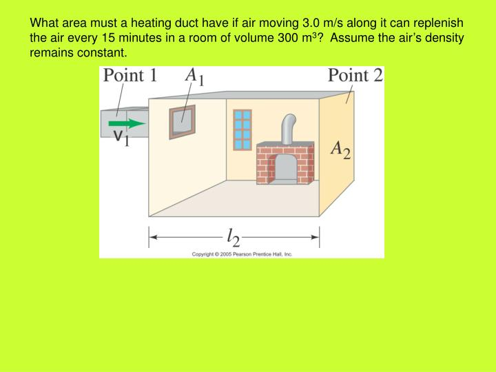 What area must a heating duct have if air moving 3.0 m/s along it can replenish the air every 15 minutes in a room of volume 300 m