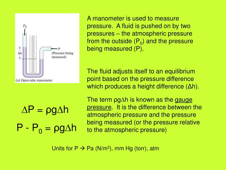 A manometer is used to measure pressure.  A fluid is pushed on by two pressures – the atmospheric pressure from the outside (P