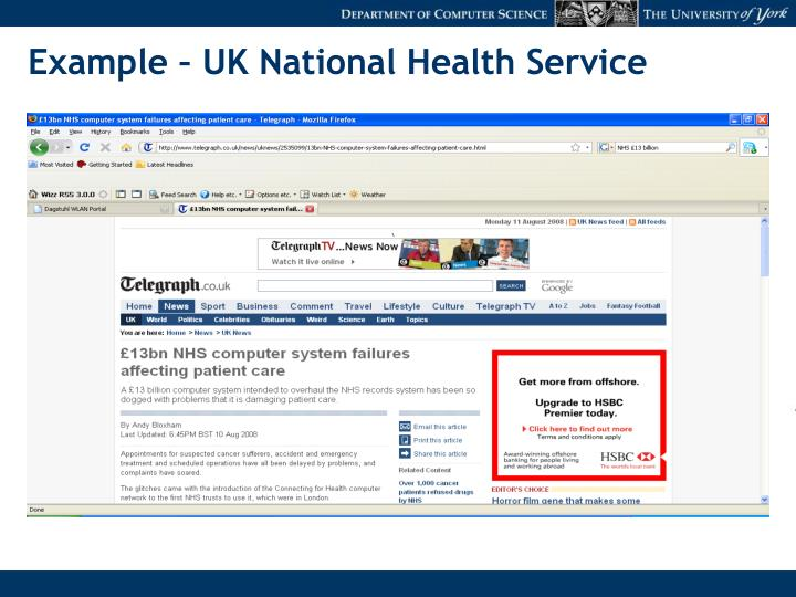 Example – UK National Health Service