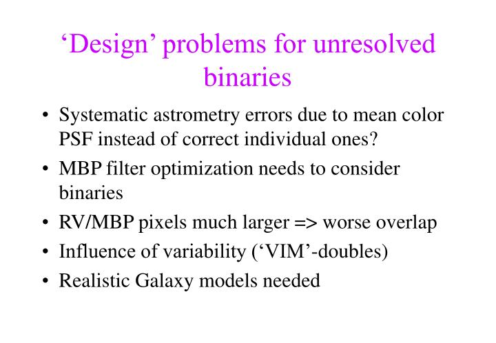 'Design' problems for unresolved binaries
