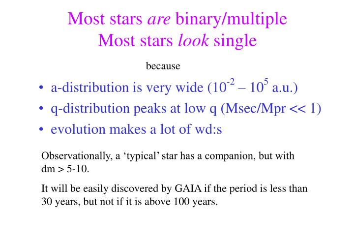 Most stars are binary multiple most stars look single