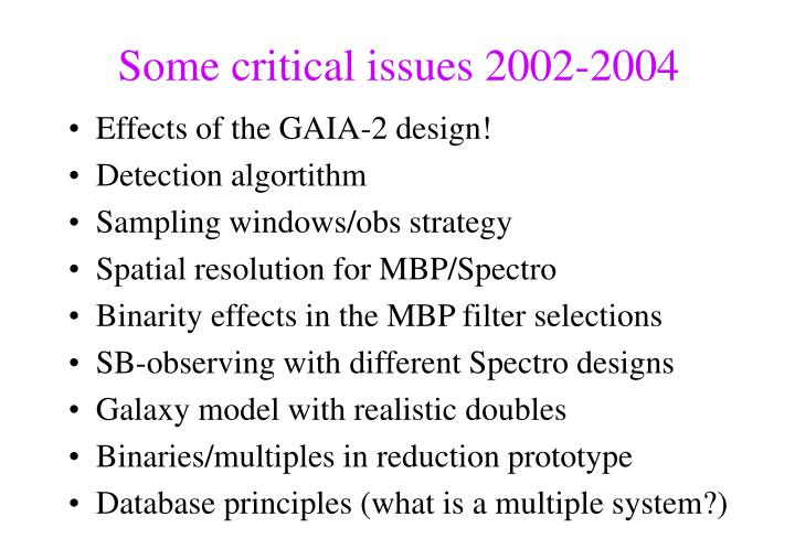 Some critical issues 2002-2004