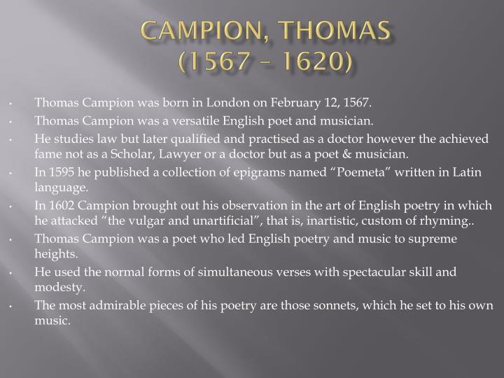 Campion thomas 1567 1620