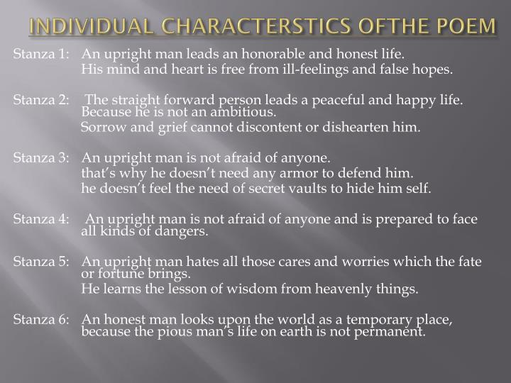 INDIVIDUAL CHARACTERSTICS OFTHE POEM