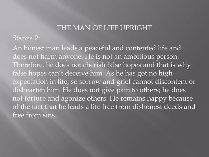 THE MAN OF LIFE UPRIGHT