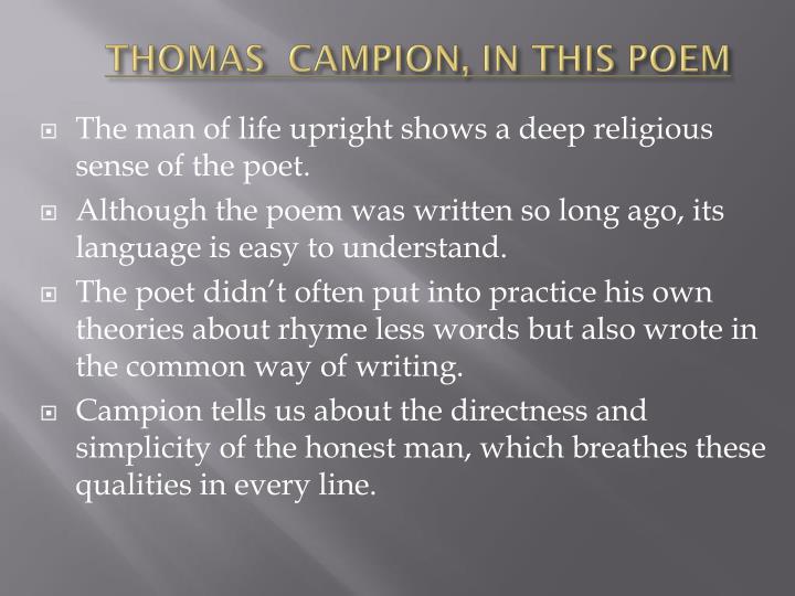 Thomas campion in this poem