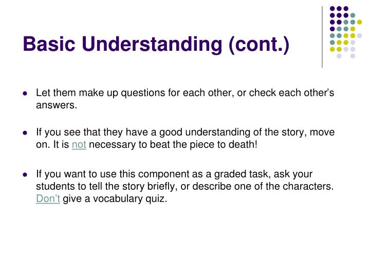 Basic Understanding (cont.)