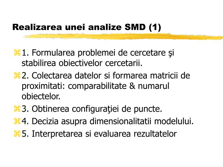 Realizarea unei analize SMD (1)