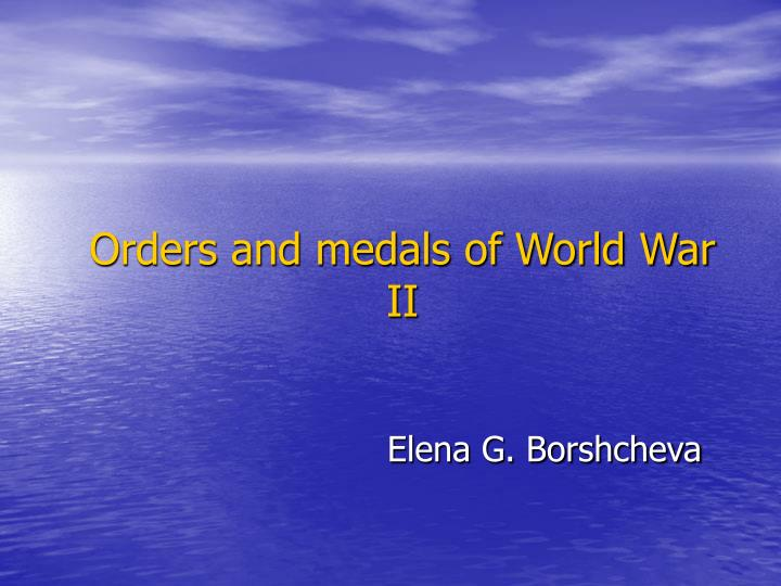 orders and medals of world war ii n.