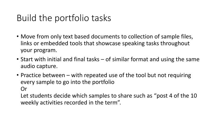 Build the portfolio tasks