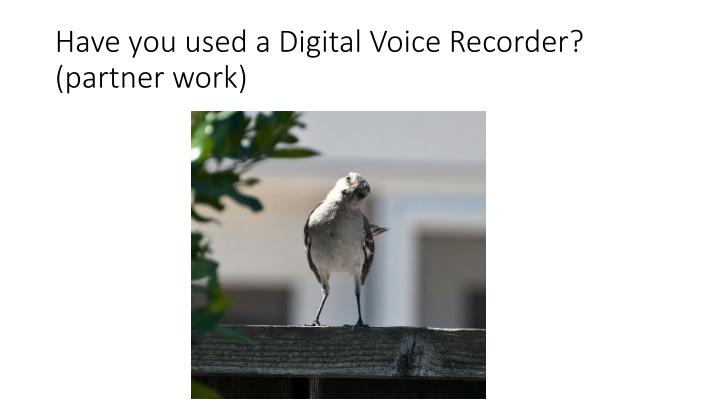 Have you used a Digital Voice Recorder? (partner work)