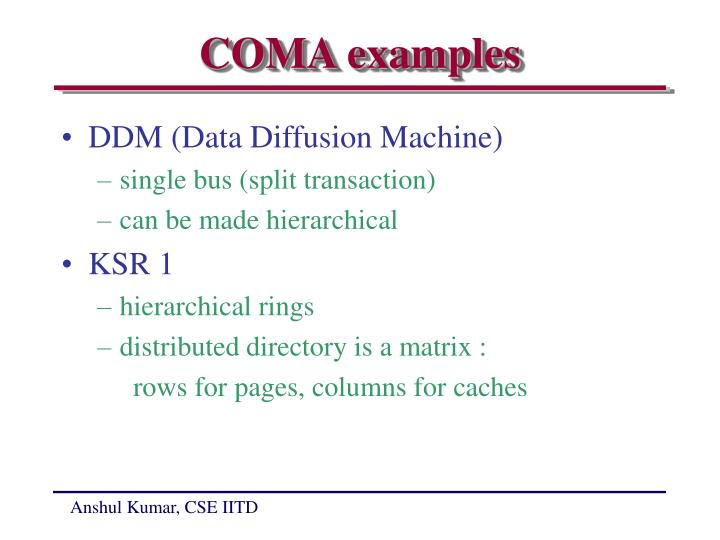 COMA examples