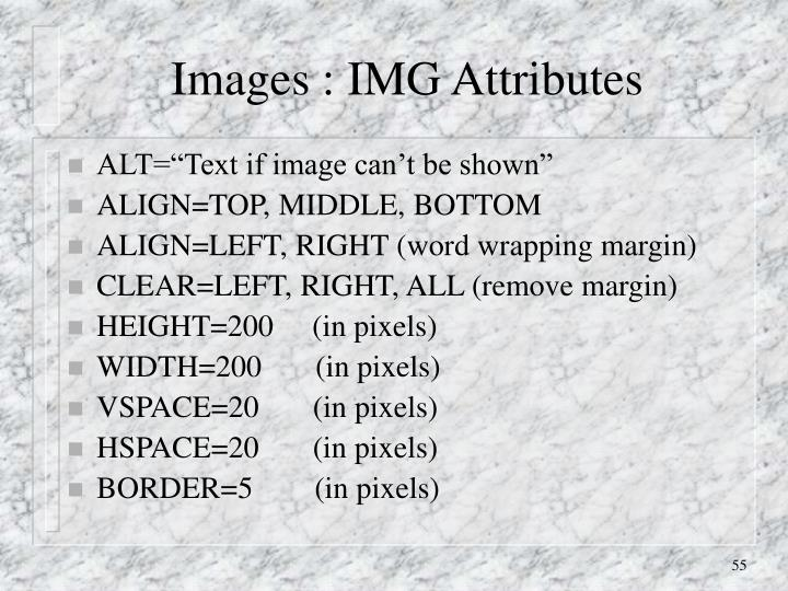 Images : IMG Attributes