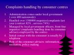 complaints handling by consumer centres