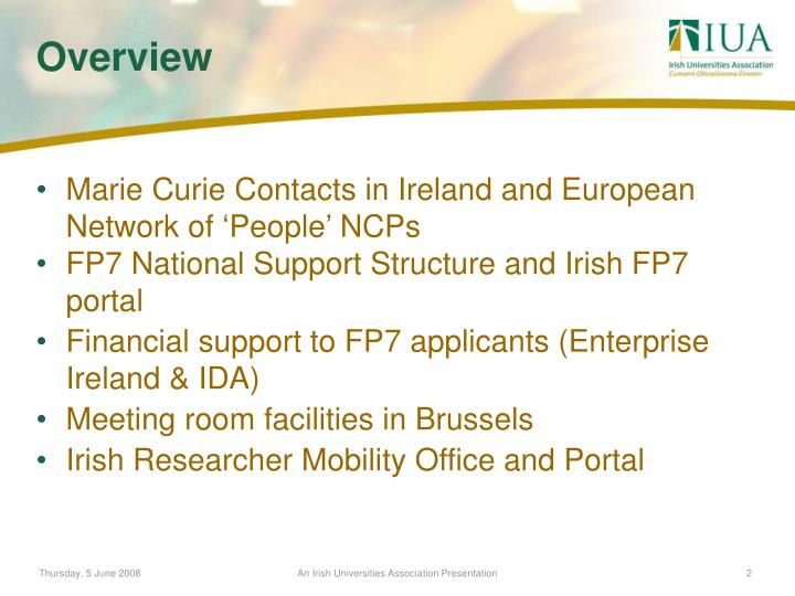 Marie Curie Contacts in Ireland and European Network of 'People' NCPs