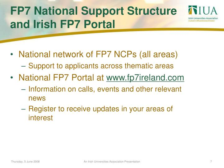 National network of FP7 NCPs (all areas)