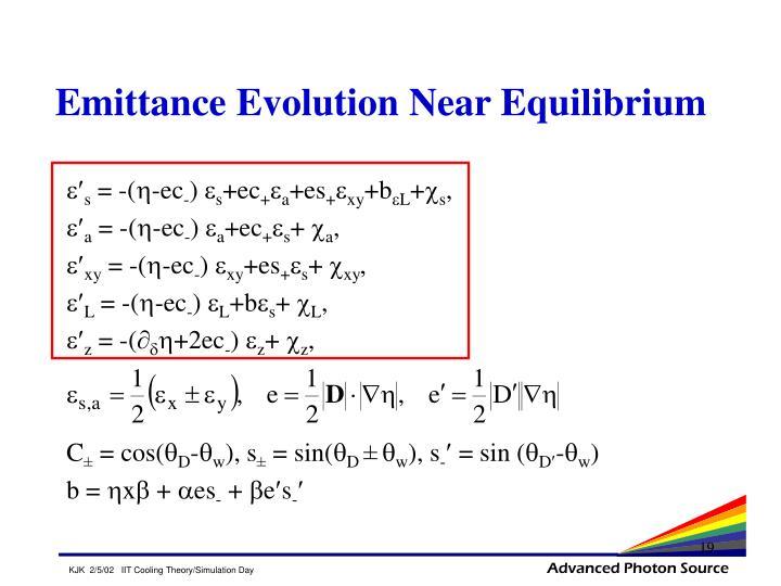 Emittance Evolution Near Equilibrium