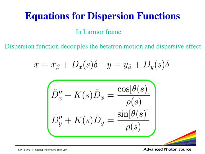 Equations for Dispersion Functions