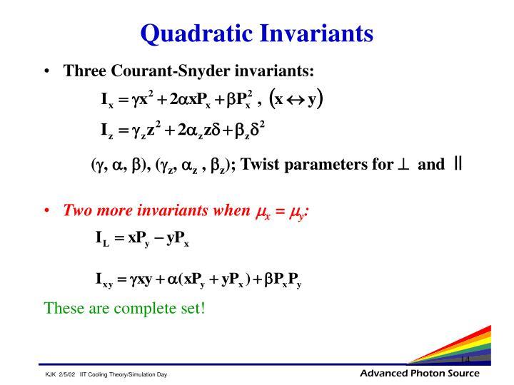 Quadratic Invariants