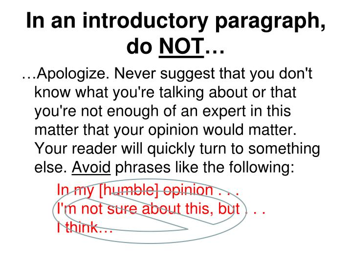 in an introductory paragraph do not n.