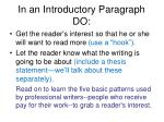 in an introductory paragraph do