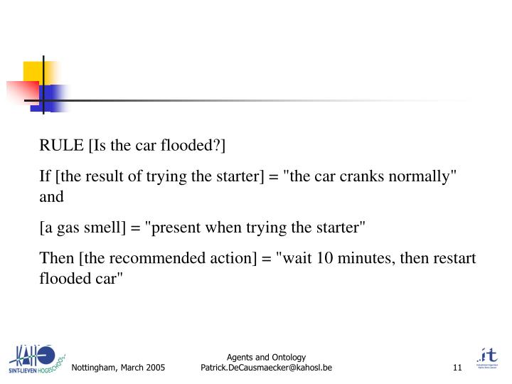 RULE [Is the car flooded?]