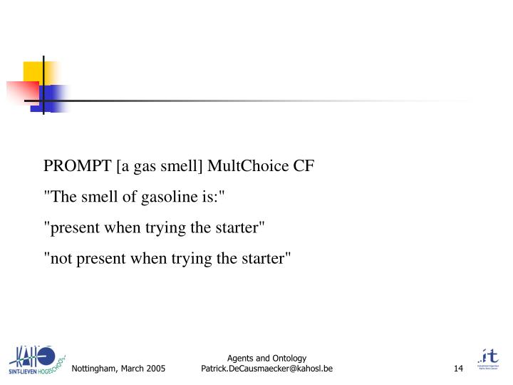 PROMPT [a gas smell] MultChoice CF