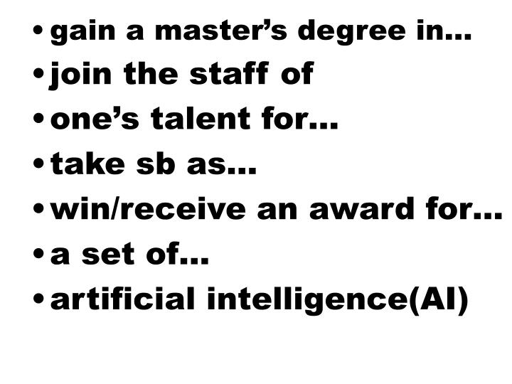 gain a master's degree in…