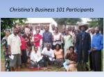 christina s business 101 participants