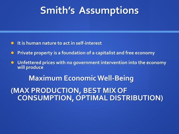 Smith's  Assumptions
