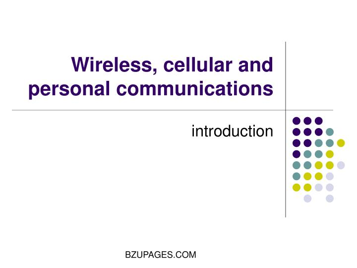 wireless cellular and personal communications n.