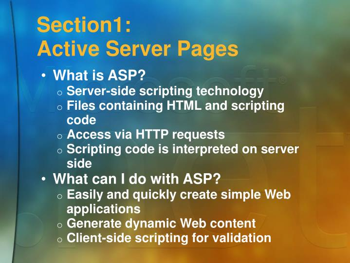 Section1 active server pages