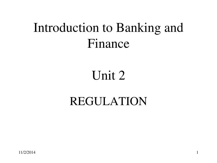 introduction to banking and finance unit 2 n.
