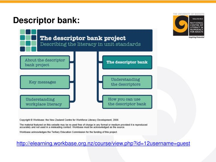 Descriptor bank: