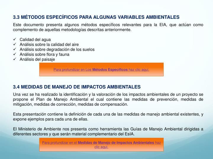 3.3 MÉTODOS ESPECÍFICOS PARA ALGUNAS VARIABLES AMBIENTALES