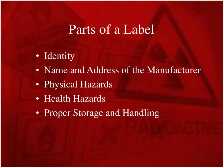 Parts of a Label