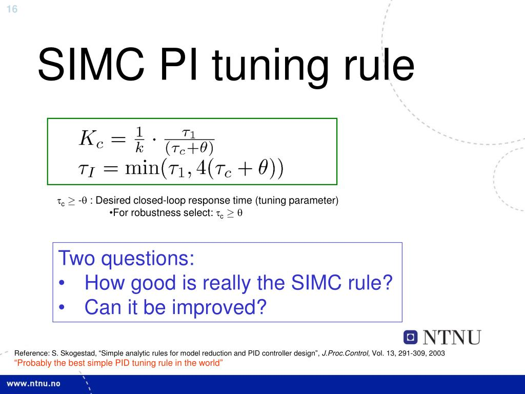 PPT - Optimality of PID control for process control applications