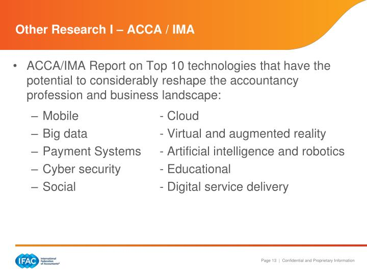 Other Research I – ACCA / IMA