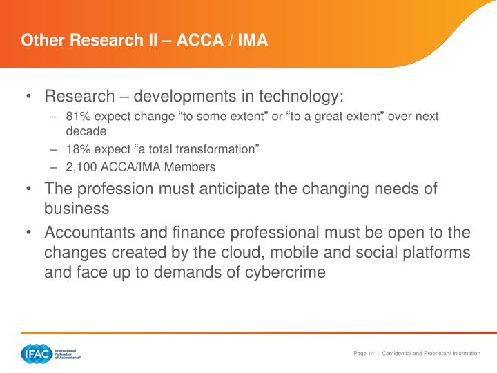 Other Research II – ACCA / IMA