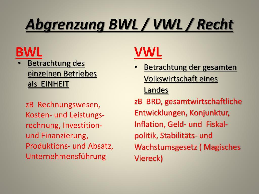Unterschied Zwischen Vwl Und Bwl
