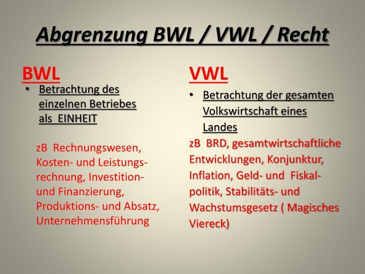 Abgrenzung BWL / VWL / Recht