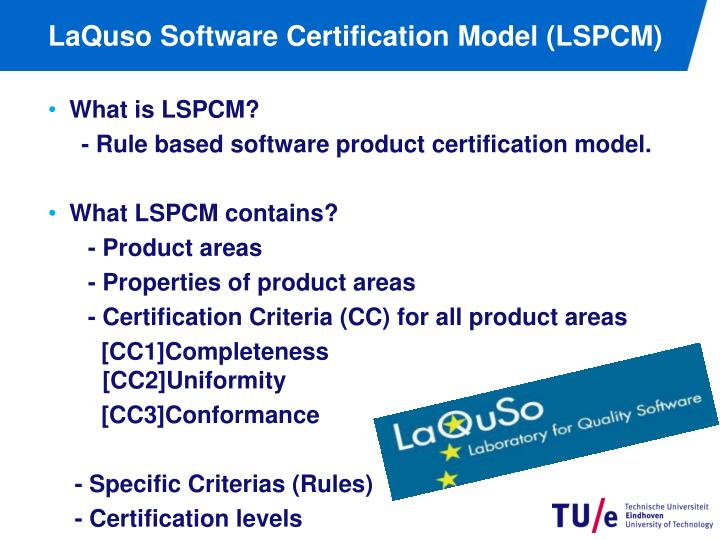 LaQuso Software Certification Model (LSPCM)